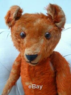 Antique Red Mohair Musical Teddy Bear, Wind Up Works Perfect Vintage