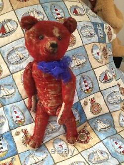 Antique Red Mohair Teddy Bear 1915 Called Albert