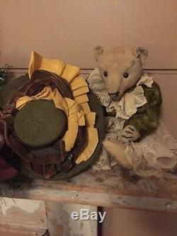 Antique Steiff 12 Mohair Teddy Bear With Antique (french) Dress, Slip & Hat