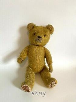 Antique Steiff Mohair Straw Stuffed Teddy Bear Jointed 15 Primitive Worn Gold