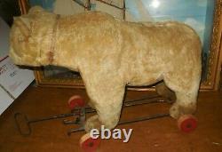 Antique Steiff Mohair Teddy Bear Pull Toy On Wheels 20x15x8 / Very Good Cond