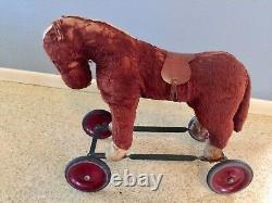 Antique Steiff Ride-on Brown Horse & Wheels Mohair Vintage Toy Saddle Teddy Bear