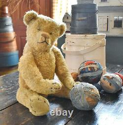 Antique Straw Filled Mohair Teddy Bear 21