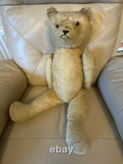 Antique Teddy Bear 1910s 1920s Hump Mohair Glass Eyes Woodwool Stuffed 24inches