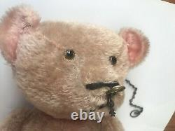 Antique Teddy Bear Straw Nose Ring Glass Eyes Mohair Jointed Arms 24
