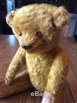 Antique Teddy Bear Straw Stuffed Mohair Jointed Hump Back Glass Eyes As Is