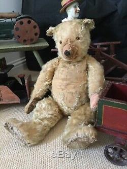 Antique Toy Mohair Teddy Bear-chiltern Circa 1920-30. Needs A Nose Job 27 Inch