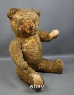 Antique Vintage 22'' German Straw Stuffed Big Teddy Bear Brown Mohair Glass eyes