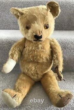 Antique Vintage Chad Valley Mohair Teddy Bear With Label 20 C. 1930s Needs TLC