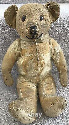 Antique Vintage Deans Jointed Mohair Teddy Bear Well Loved British C. 1950s