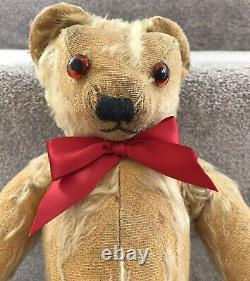 Antique Vintage Merrythought Mohair Jointed Teddy Bear With Label & Squeak C. 1930s