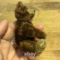 Antique Vintage Mini Steiff Mohair Teddy Baby Bear Dark Brown Mohair No ID