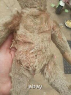 Antique early 1900s metal button Steiff 10 mohair Jointed Old Teddy bear