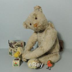 Antique loved white mohair STEIFF Centre Seam Teddy 40cm + FF-Button