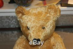 Antique steiff teddy bear, mohair, 20 inches long, squeaker works, wood wool fil