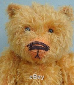 Artist Teddy Bear Distressed Golden Mohair Plush 15 Boot Button Eyes Jointed