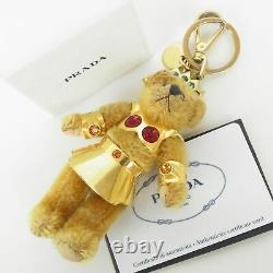 Auth PRADA Mohair Swarovski Crystal Teddy Bear Key Holder Bag Charm 17464bkac