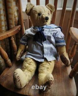 CHAD VALLEY ANTIQUE 1920s 28 MOHAIR CENTRE SEAM SAILOR TEDDY BEAR RAPHAEL