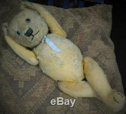 CHILTERN VINTAGE 1920s GOLDEN PLUSH MOHAIR JOINTED 21 53cm TEDDY BEAR HUGO