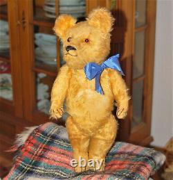 Charming 17 German orangecolored mohair teddy bear Jopi 1920's