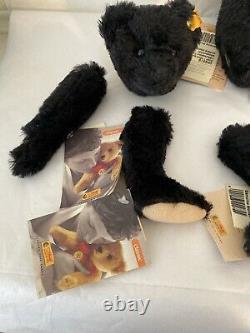 EXTREMELY RARE Retired Steiff Magnetic Click-A-Bear Black Mohair Teddy Bear