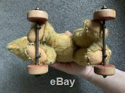 Early 8 Antique Steiff Teddy Bear Pull Toy Wooden Wheels Mohair Long f Button