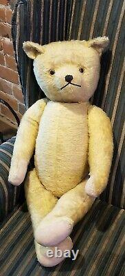 Early, Antique, Old Primitive, Straw Filled Mohair, 26 Teddy Bear