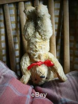 FARNELL VINTAGE 1930s 16 GOLDEN CURLY MOHAIR TEDDY BEAR FULLY JOINTED