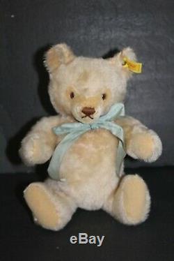 GERMAN STEIFF STRAW STUFFED MOHAIR TEDDY BEAR JOINTED GROWLER 12 Vintage 1950