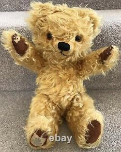 Gorgeous Antique Vintage Chad Valley Tufty Mohair Teddy Bear With Labels British