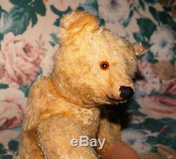 Gorgeous goldblond Steiff Mohair Teddy Bear with FF button 1915 16 tall