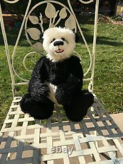 HTF SMALL PANDA Artist Mohair Teddy Bears Claudia Wagner Open-Mouth Vintage 14