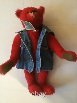 Heidi Steiner American Artist Large 22 Zeke Hand Dyed Red Mohair Teddy Bear