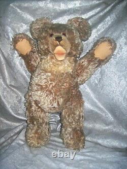 LARGE VINTAGE STEIFF 20 TALL ZOTTY MOHAIR TEDDY BEAR with GLASS EYES / GROWLER