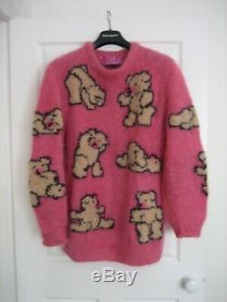 LIZ NEWMAN VINTAGE TEDDY BEAR JUMPER 1980s OVERSIZED HAND KNIT MOHAIR SWEATER