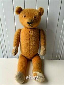 Large 23 Vintage ANTIQUE American MOHAIR TEDDY BEAR Straw Filled Fully Jointed