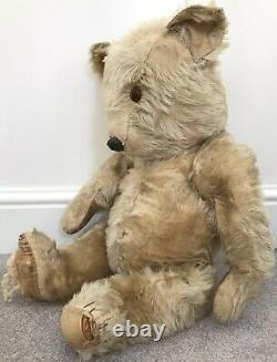 Large Antique Chiltern Blonde Mohair Jointed Teddy Bear British Needs TLC 24