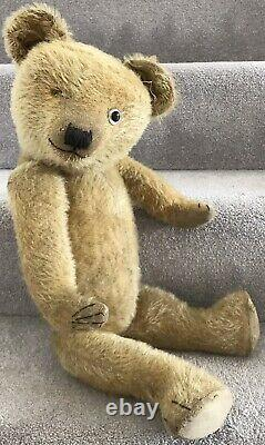 Large Antique Chiltern Mohair Jointed Teddy Bear British 1930s 23 Needs TLC