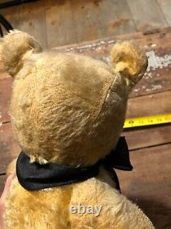 Large & Primitive Old 22 Antique Chad Valley Jointed Mohair Teddy Bear