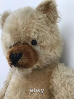 Lovely Large Vintage Schuco Teddy Bear Blonde Mohair Jointed With Growler 26