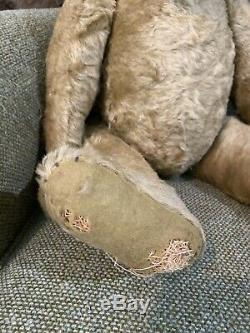 Lrg Antique Early 20thC Jointed, Short Mohair, Straw Filled Humpback Teddy Bear