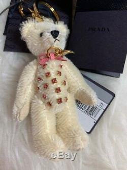 NWT AUTHENTIC Prada 100% Mohair White Teddy Bear Doll Crystal Key Chain Charm