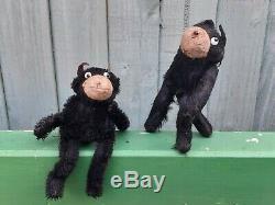 Old Vintage Antique Googly Eyes Black Mohair Felix The Cat Soft Toy Teddy Bear 1