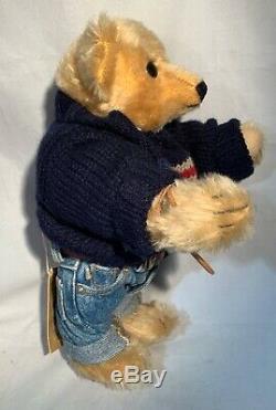 POLO Ralph Lauren Steiff Mohair Teddy Bear American Flag Sweater Jeans with Tag