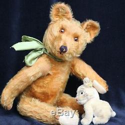 RARE ANTIQUE JOSEF PITRMANN TEDDY BEAR 1930s 20 CINAMON MOHAIR FUR w STEIFF DOG