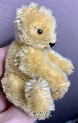 RARE Miniature Steiff Raised Silver Button Teddy Bear Beige BROWN Mohair 3.5
