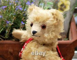 Rare 11 German cream white Jopi mohair teddy bear working squeaker 1920