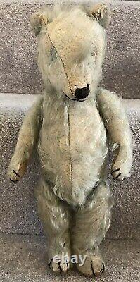 Rare Antique Vintage Chiltern Blue Mohair Jointed Teddy Bear Well Loved C. 1930s