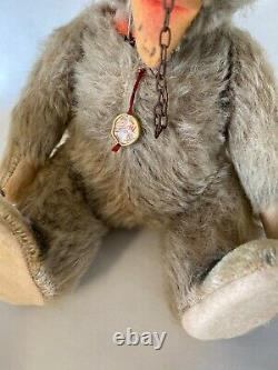 Rare antique early mohair German Hermann jointed teddy bear 11 withmedal