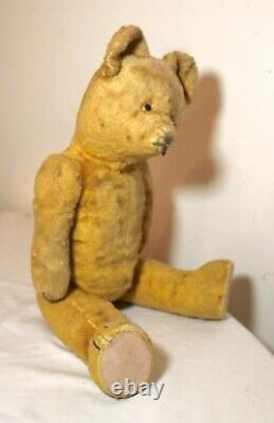 Rare antique handmade straw filled mohair jointed talking growling teddy bear